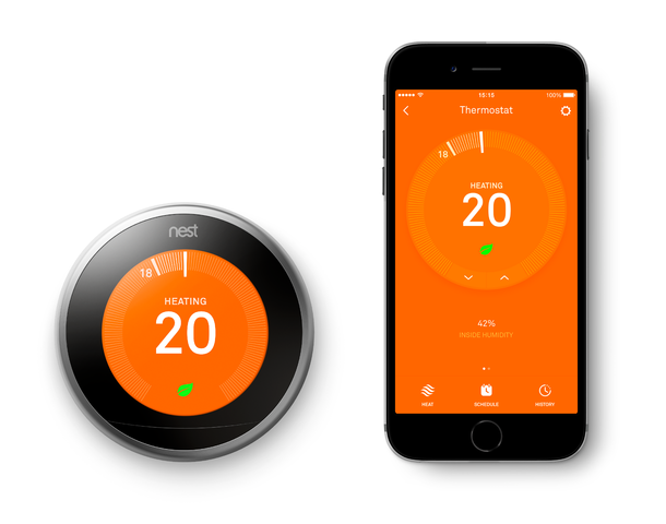 NEST® thermostat control and smartphone app